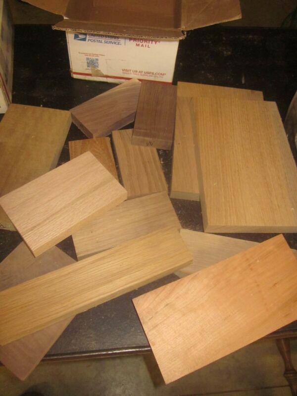 "14 pc 1""-1/2"" WALNUT WHITE/RED OAK CHERRY ELM cut offs lumber scroll saw wood"