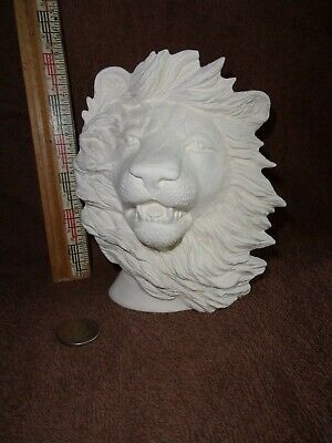 Pretty Male African Lion Bust Ceramic Bisque U-Paint Ready To Paint Lions Leo ()