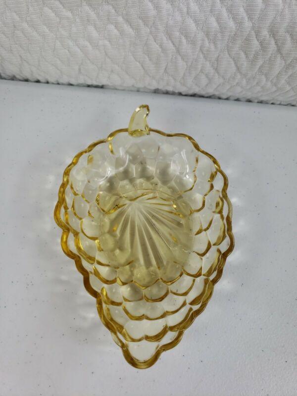 VINTAGE Yellow Amber Glass Dish Bowl