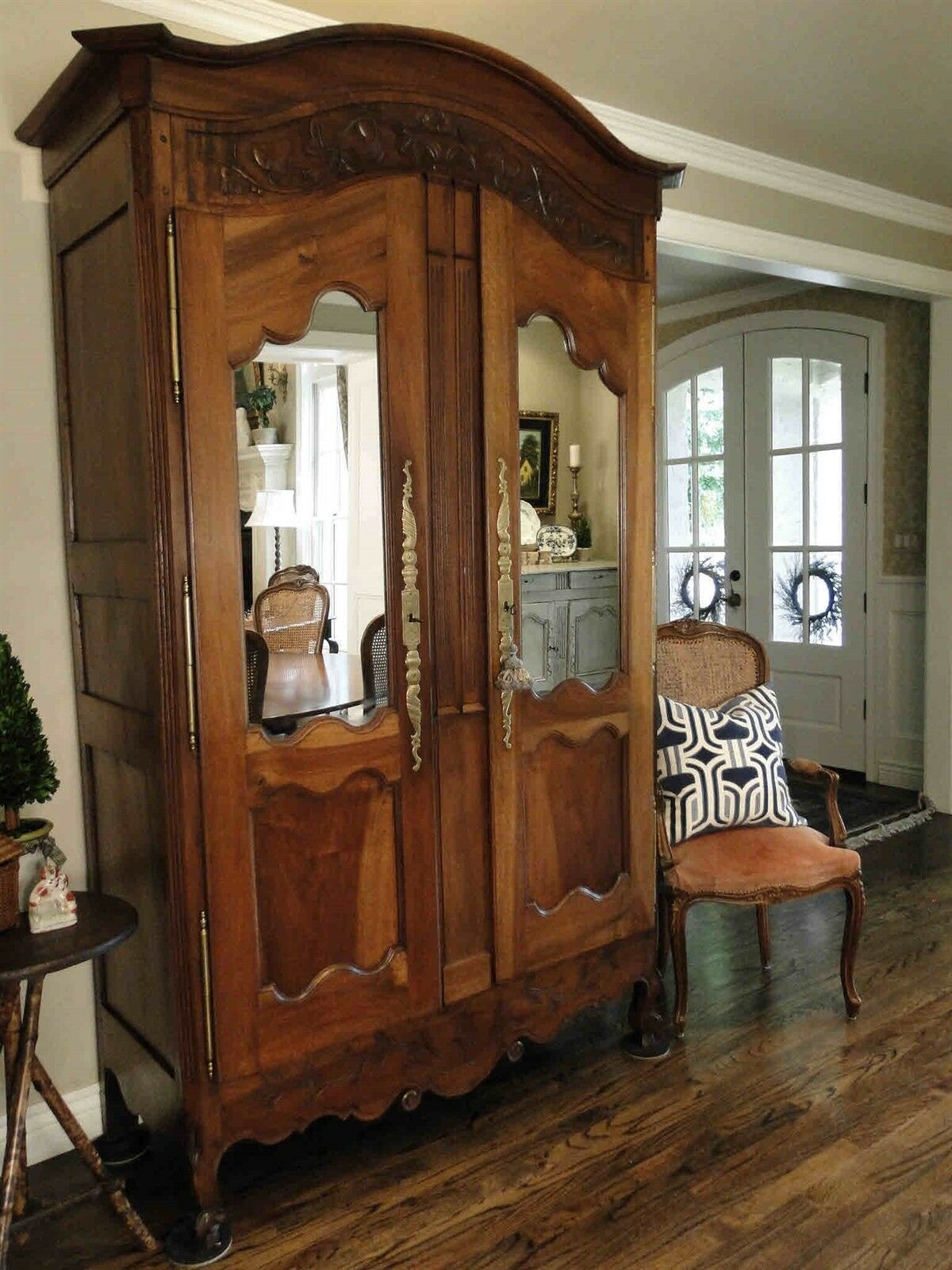 Antique French Country Wedding Armoire  Mirror Paneled Doors Fitted shelves
