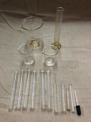 Vintage Lot Of 15 Scientific Lab Chemistry Glassware Beakers Test Tubes Pyrex