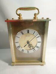 Seiko Quartz Carriage Clock Brass w/ Glass Lens Silent Movement Made in Japan