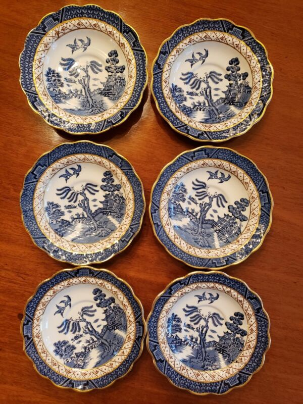Booths Real Old Willow Teacup Saucers Blue White Gold trim A8025 England Qty 6