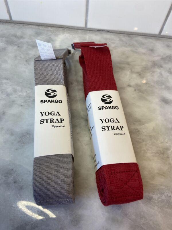 "New SPAKGO Yoga STRETCH Strap 100% Polyester Fiber 8ft x1.5"" Gray + Red Exerc"