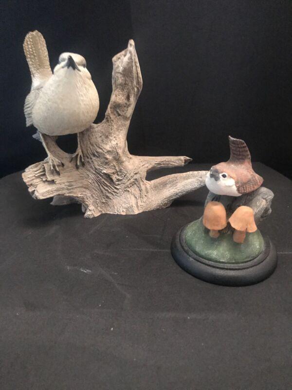 2 Wren Bird Figures Hand Painted porcelain vintage