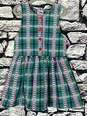 OSH KOSH Vintage Red & Green Plaid / Flowers & Bows Jumper Girls Dress Size 4 T