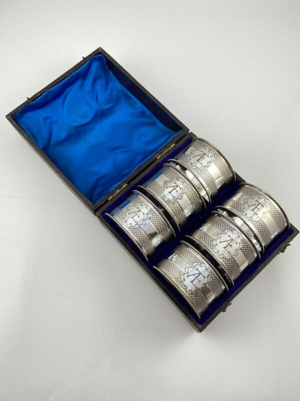 Set Of Six Boxed Napkin Rings Silver Plated Monogrammed EAT or TEA Victorian