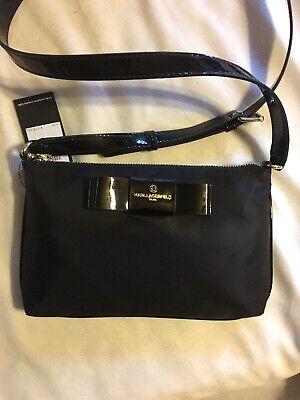 Karl Lagerfeld Shoulder Handbag Black Bow Front Patent Leather Trim NEW