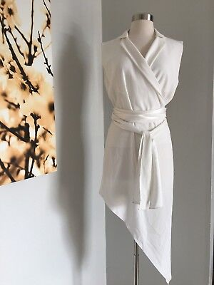 $1795 BAJA EAST WHITE ASYMMETRICAL BELTED SLEEVELESS DRESS SIZE 00 MADE IN USA