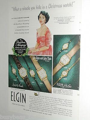 1949 Elgin Watch advertisement, teenage Elizabeth Taylor, Christmas present ()