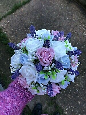 Wedding Posy Bouquet Lavender & White Roses Pink And Light Blue - Lavender And White Wedding