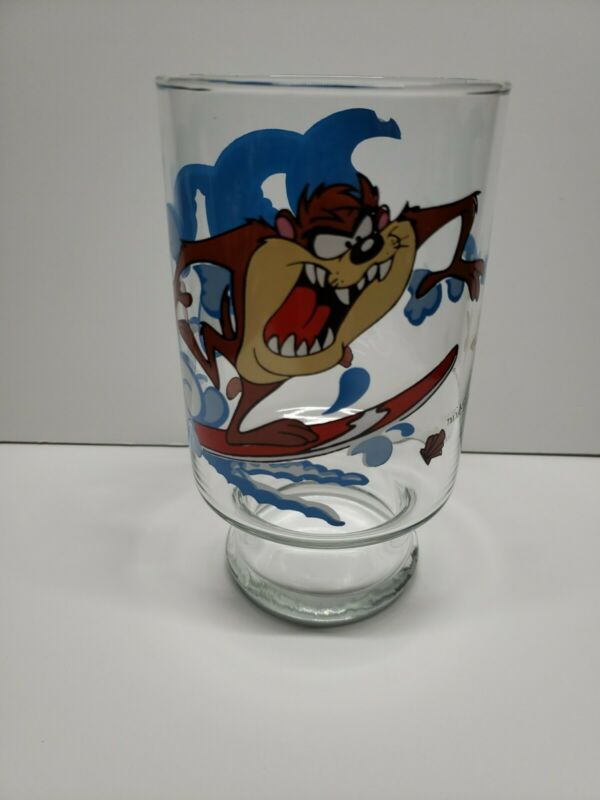 Tasmanian Devil Taz Surfing Drinking Glass 32 oz Looney Tunes Warner Bros 1995