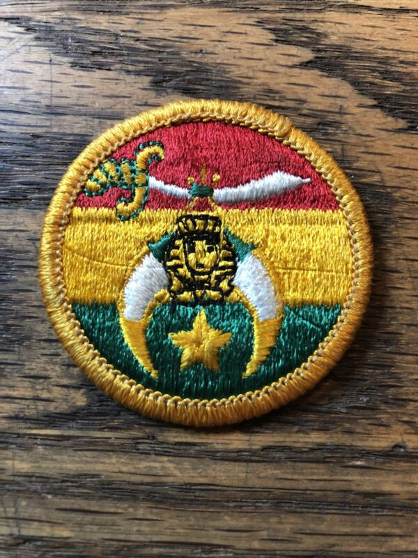 Vtg SHRINER PATCH Colorful As-Is-Stitching CRESCENT MOON SWORD  🗡!
