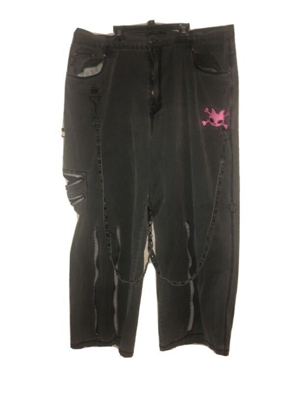 Vintage Men's Hot Topic Bondage Pants Wide Leg Gothic Rave Baggy HDR Size 42