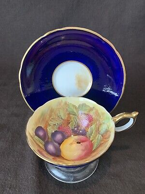 Aynsley Orchard Fruit Tea Cup & Saucer Signed D Jones Cobalt Blue Gold Trim - Gold Fruit Saucer