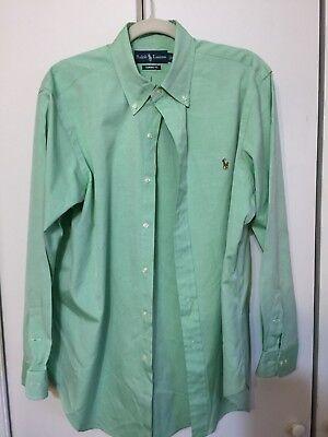 Ralph Lauren Mens Classic Green White Dress Shirt Long Sleeve Buttondown 16 32/3