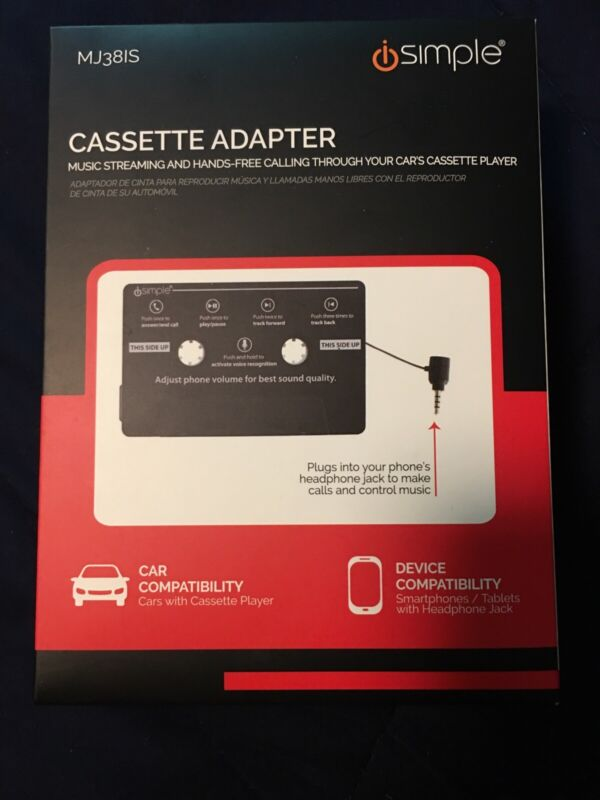 Isimple Cassette Adapter - Music Streaming Hands Free Calling Through Car Player