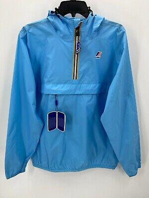 K-Way Mens Large La Vrai 3.0 Lt Blue Anorak Packable Winbreaker Light Jacket NWT