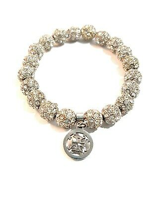 Rustic Cuff Crystal Silver Tone Stretch Elastic Bracelet Sparkles