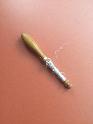 Vintage Wooden Bobbin with Thread