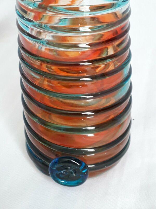 MDINA GLASS VASE- ORANGE/RED  WITH TURQUOISE SWIRL-15.5cm Tall - Beautiful