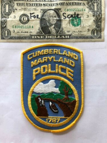 Cumberland Maryland Police Patch un-sewn in Mint shape