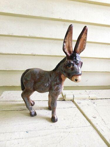 "Very Cute 7"" Clay Donkey Animal Figurine Farm  #E2"