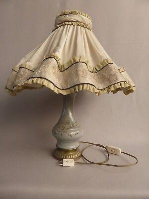 BELLE LAMPE DE CHEVET OU LAMPE DE TABLE ANCIENNE PIED CERAMIQUE ABAT JOUR TISSU