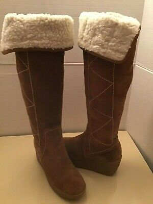 Michael Kors women chestnut brown suede over the knee boots Size 6.5