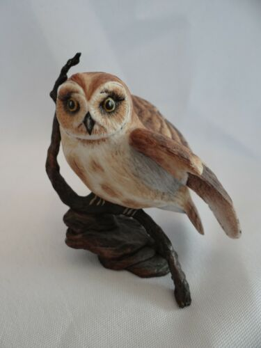 BOEHM PORCELAIN MINIATURE SHORT EARED OWL ON BRONZE PERCH