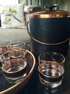 Vintage bar set. Tray, glasses, ice bucket