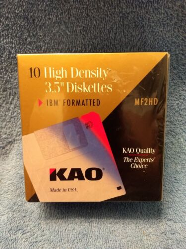 "Sealed NEW  KAO MF2HD  10 High Density 3.5"" Diskettes IBM Formatted"
