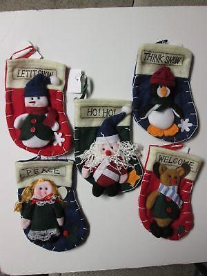 Small Felt Christmas Stocking, PICK 1, Santa, Snowman, Angel, Reindeer, Penguin