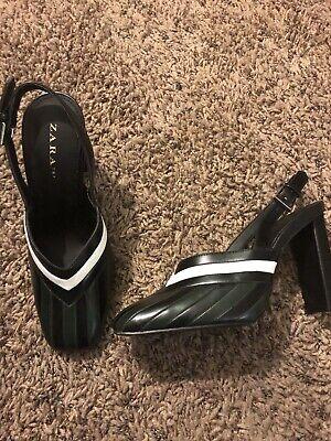 ZARA Basic Women's Shoes /Strap  Heels 7 1/2 Forest Green / Black