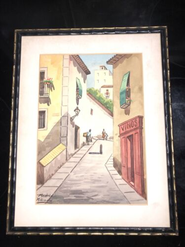 Vintage 1966 Watercolor Madrid Artist M. Gracia Framed With No Glass 11x14  - $16.75