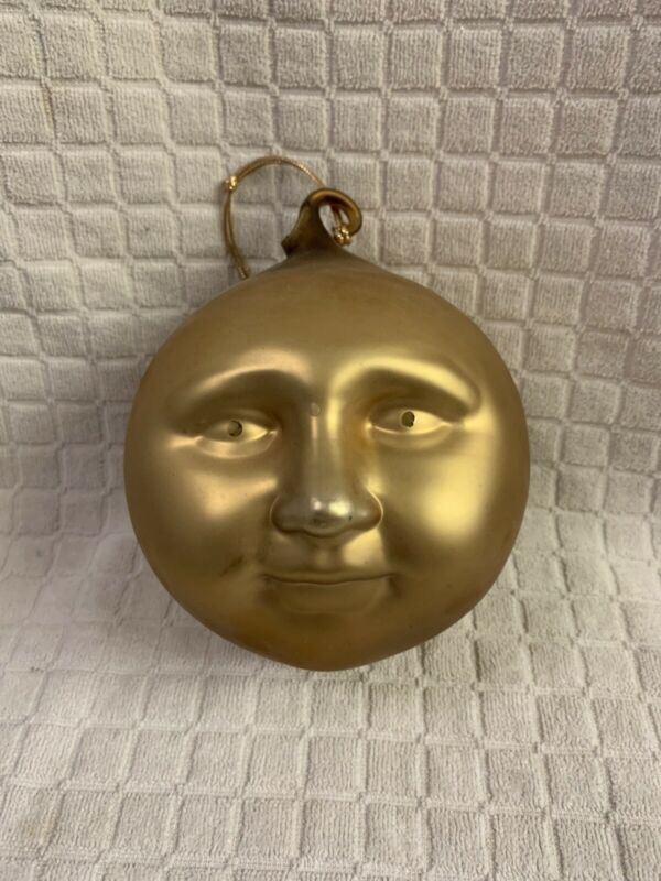 DEPT 56 FROSTED MERCURY GLASS GOLD MOON FACE ORNAMENT