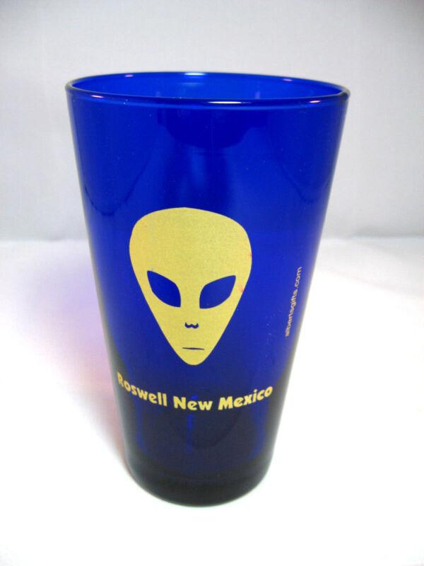 "Roswell New Mexico Alien Cobalt Blue Glass Tumbler 5.75"" tall"