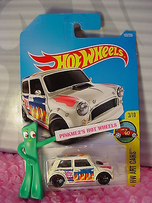 2016 i Hot Wheels MORRIS MINI #193✰White; Pink/blue 5sp✰HW Art Cars✰2017 Case A