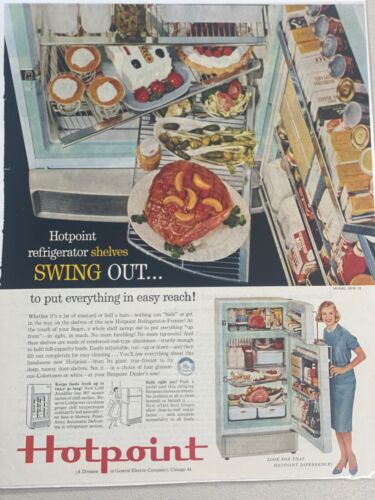 1959 Hotpoint Refrigerator Shelves Swing Out VINTAGE ADVERTISEMENT