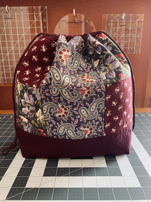 Large Patchwork Quilted Knitting Bag, Yarn Project, Crafts, Travel, Autumn, Fall