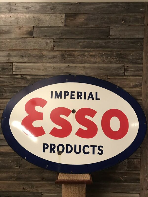 Vintage Original Porcelain Esso Dealer Sign Advertising Sign