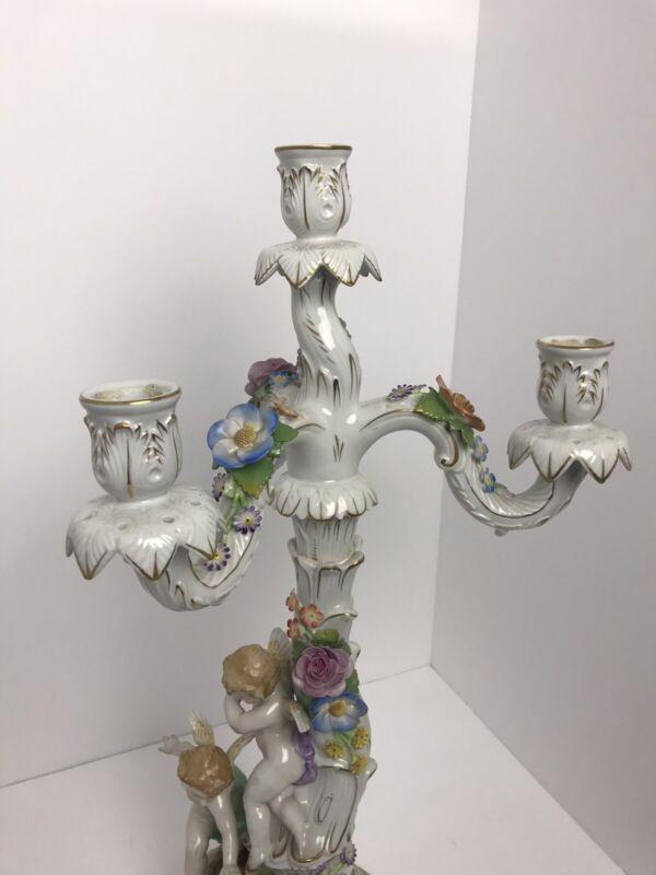 Rare Antique German Porcelain Von Schierholz Baroque Candelabra(s), c. 1920s