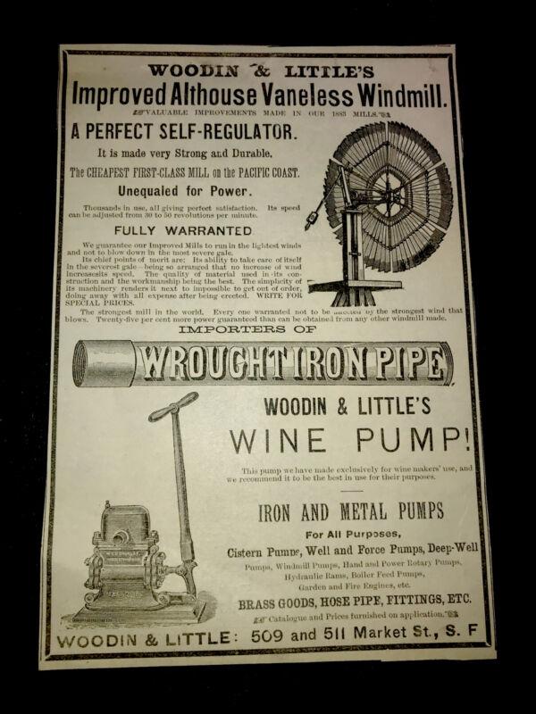 1883 Windmill Farm Engraving Advertising - San Francisco - California