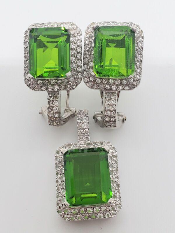 New Sterling Silver 925 Green Tourmaline White Quartz Necklace Omega Earrings