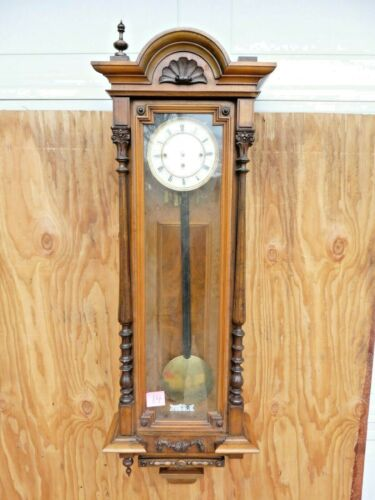 Large Vienna / German Walnut Three Weight Wall Clock, c. 1900 No. 14