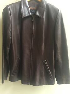 Women Brown leather jacket size 6