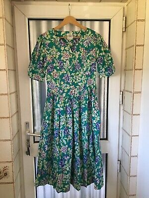 Vintage Laura Ashley Tea Dress Green Featuring Purple  & Lemon size 14