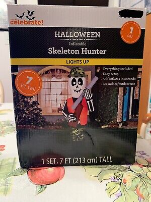 Make Halloween Lawn Decorations (7 Ft Halloween Airblown Inflatable Skeleton Hunter Light Up Lawn Decor Brand)