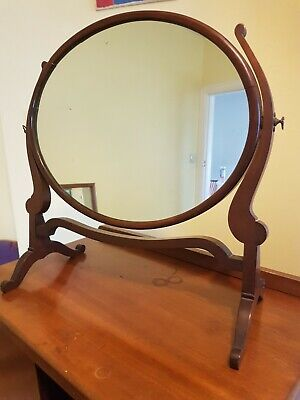 Old mirror Mahogany on stand vintage