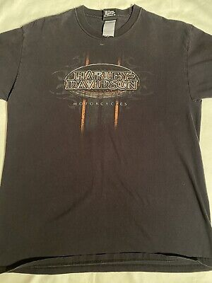 VTG Harley Davidson Mile High Denver Colorado Faded Black T-shirt Sz Large Hanes